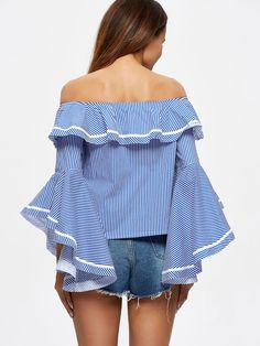 Light Blue Ruffled Sexy Long Sleeved Stripes Frill Sleeve Off Shoulder Top Casual Summer Outfits, Cute Outfits, Fall Outfits, Latest Top Designs, White Chiffon Blouse, Western Dresses, Off Shoulder Tops, Ladies Dress Design, Blouses For Women
