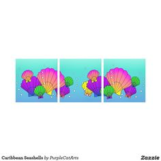 Caribbean Seashells Canvas Prints by Purple Cat Arts. Brighten up your decor with these colorful Caribbean seashells! Sun, sand, ocean and seashells...aaaahh. Available in single as well as 2 side-by-sides. #seashells #seashellart #artpanels