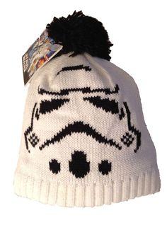 d80e21082f1 Star Wars Storm Trooper White Knit Pom Beanie Skull Cap Hat Soft Lined  Inside  StarWars