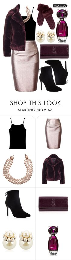 """""""Pack and Go: Winter Getaway"""" by deedee-pekarik ❤ liked on Polyvore featuring Chanel, Topshop, Charles David, Yves Saint Laurent, Mawi, Pia Rossini, purple, black, metallic and pearl"""