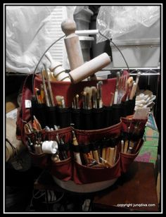 My pottery tool bucket--an assortment of storebought, re-purposed and handmade tools! Could put a tool skirt on potters stool, keeping all tools within reach? Ceramic Tools, Clay Tools, Ceramic Clay, Ceramic Pottery, Pottery Art, Ceramic Techniques, Pottery Techniques, Clay Studio, Ceramic Studio