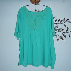 Woman Within Turquoise Short Sleeve Eyelet Casual Blouse Size 3X #WomanWithin #Blouse #Casual