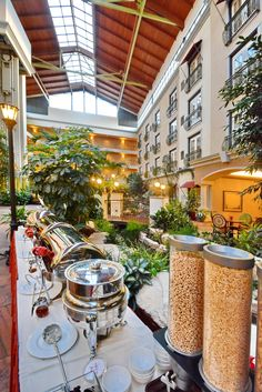 Breakfast area in the atrium.  Guests at Woolley's receive a complimentary, hot breakfast each morning.