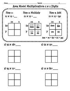 FREEBIE 4.NBT.5 Area Model Multiplication Worksheet (2 digit x 2 digit) Good for math notebook.
