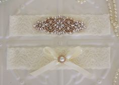 Bridal Garter, Rose Gold Rhinestones and Pearl Elastic lace wedding garter set, Satin and Lace with Pearls, Ivory,Cream by MyVintageWeddingAust on Etsy