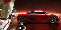 Iron Man and the Audi R8 e-tron.