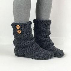 Bottes pour dames Slipper ample gris foncé au Crochet, tricot Mesdames pantoufles, chaussons de jambière, chaud hiver chausson chaussettes, bottes gris chiné