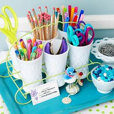 Create storage for crafts and office supplies in a collection of milk glass displayed in a vintage drink caddy set on a colorful tray. You can simply carry this cheap craft storage tray to any work space. Craft Organization, Craft Storage, Organizing Crafts, Storage Ideas, Storage Solutions, Organizing Solutions, Organising, Jewelry Storage, Scrapbook Supplies