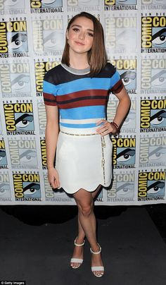Cute and casual: Maisie donned a stripy T-shirt teamed with a white skirt to attend a Game Of Thrones panel