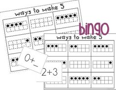 FREE 6 bingo boards with ten frame representations for combinations of five. K.OA.1.a Represent addition with objects, fingers, and sounds to identify the meaning of addition as putting together and adding to.  K.OA.4.a State the number that makes 5 when added to any given number 1-4 with objects.