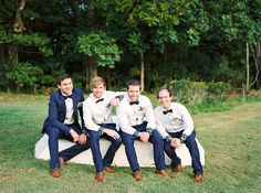 Romantic-Gold-&-Pink-Vintage-Wedding-Groom-Navy-Suit-Groomsmen