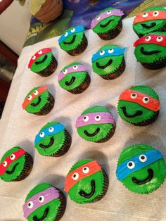 Teenage Mutant Ninja Turtles Cupcakes we made for my son's birthday. :)
