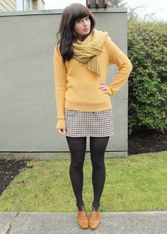 Yellow Sweater, White Collar Blouse, Mustard Scarf, Checked Skirt, Laced-Up Shoes / Night Lights