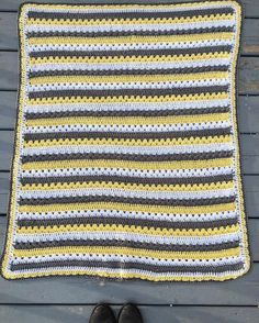 I finished this last week by only got around to showing you today! Pattern is Cozy Stripes by @attic24 and yarn is from @michaelsstores the Loops and Threads brand!  #babyshower #greyyellowwhite #crochetbabyblanket #crochetblanket #crochetbaby #crochet #crocheted #crocheter #cosystripe #crocheters #crochetersofinstagram #crocheteveryday #crochetersofig #babyblanket by greatdanecrafts