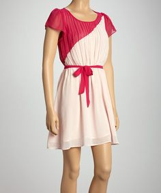 Take a look at this Fuchsia Color Block Angel-Sleeve Dress - Women by Adrienne on #zulily today!