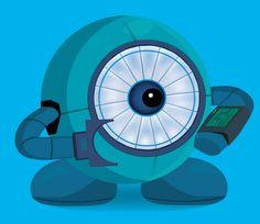 Robot ayudante de color azul.