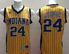 773ba90fc965 Indiana Pacers  24 Paul George Yellow With Pinstripe Swingman Throwback  Jersey Indiana Pacers