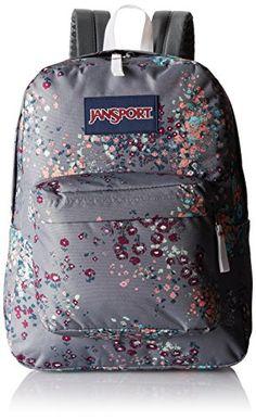 """JanSport Superbreak Backpack - Shady Grey Sprinkled Floral / 16.7""""H x 13""""W x 8.5""""D JanSport http://smile.amazon.com/dp/B00HS5YOKW/ref=cm_sw_r_pi_dp_5VzWvb0Z7YTX2"""