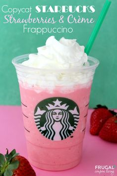 Easy Peasy Copycat Starbucks Frappuccino - Starwberries and Creme Recipe on Frugal Coupon  Living. More copycat recipes too!