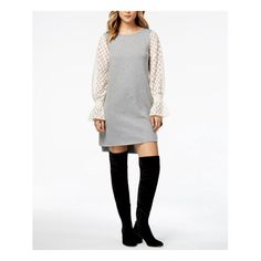Kensie Lace-contrast Sweater Dress In Heather Grey Combo Lace Sleeves, Bell Sleeves, Animal Print Cocktail Dresses, Review Dresses, Gray Dress, Dresses Online, Dress Outfits, Clothes For Women, Sweaters