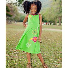 NiGi- -Toddler Girl's Lime Green Hand Painted Tiffany's Dress