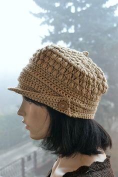 d3c4463eb6d Crocheted beanie Slouchy Hat PEAKED CAP Winter Fashion very Peaked Cap
