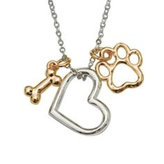 Signs and Plaques 46299: Rockin Doggie Paw Necklace, Heart With Gold Plated Bone And Paw BUY IT NOW ONLY: $36.54
