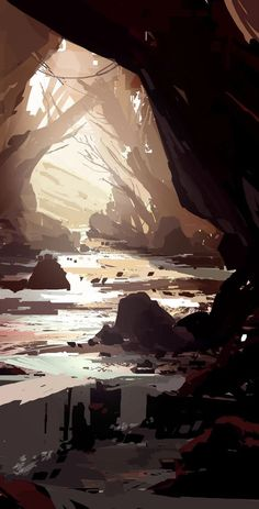 Concept Art Landscape, Fantasy Art Landscapes, Landscape Drawings, Fantasy Landscape, Landscape Art, Beautiful Landscapes, Mountain Landscape, Beautiful Scenery, Environment Concept Art