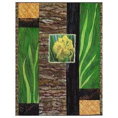 Iris on the Rocks Bead Embellished Art Quilt 17x22