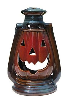 Clovers Garden Halloween Pumpkin Lantern with Handle, Glazed Stoneware - Decorative Table or Hanging Lantern for Candle or LED Light - Indoor, Outdoor Halloween Table, Halloween Party Decor, Halloween House, Cute Halloween, Halloween Gifts, Halloween Pumpkins, Halloween Dinner, Halloween Stuff, Halloween Ideas