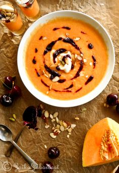 Chilled Cantaloupe soup with Cardamom infused cherry compote! Perfect dessert soup.