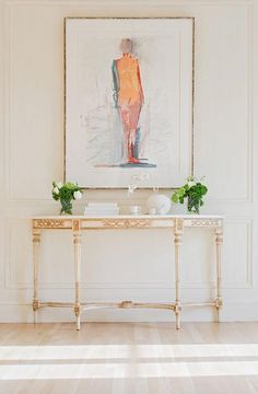 Entryway with stools and picture