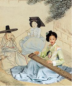 Korean traditional dress and music instrument Korean Traditional Dress, Traditional Fashion, Traditional Dresses, Traditional Art, Korean Dress, Korean Outfits, Korean Clothes, Korean Art, Korean Food