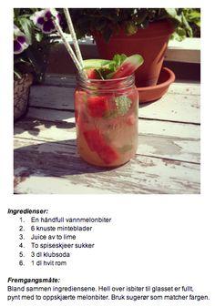 Vannmelon-mojito i et 0,7 dl Norgesglass.