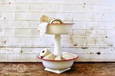 Vintage inspired metal tiered stands, by Knick of Time, featured on http://www.ilovethatjunk.com/
