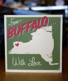 Someone in Buffalo Misses You - Hand Printed Silkscreen Greeting Card 5 x etsy. Visiting Niagara Falls, Buffalo New York, Miss You Cards, I Love Ny, Buffalo Bills, Silk Screen Printing, My Heritage, Silkscreen