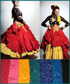 Colors of Jaipur skirts, layering with solid colors.