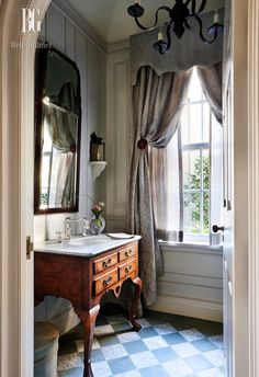 John B. Murray powder room via design bathroom design designs interior Bad Inspiration, Bathroom Inspiration, Interior Inspiration, Small Bathroom, Master Bathroom, Bathroom Ideas, Bathroom Gray, Modern Bathroom, Bathroom Organization