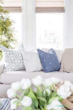 An eclectic pairing of coastal blue and white throw pillows for spring. Living Room Decor, Bedroom Decor, Beautiful Home Gardens, White Throw Pillows, Blue And White Pillows, Spring Home, French Country Decorating, Minimalist Bedroom, Guest Bedrooms