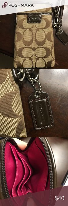 Coach phone carrier wristlet. Authentic Coach small corner zipper wristlet. Keeps phone lipstick,credit cards, lipstick & phone neatly organized   Wear as a wristlet or clip to inside of your purse. 5.5 (L). 3.5 (W). Never used.  In PERFECT condition and makes the perfect Christmas  gift  Coach Other