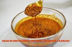 Cómo hacer salsa de Chile de árbol en aceite con cacahuate y ajonjolí - ... Salsa Picante, Salsa Verde, Barbacoa, Tacos Y Mas, Mexican Salsa, Best Mexican Recipes, Deli Food, Fruit Salsa, Mexican Dishes