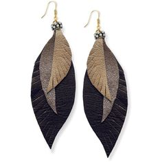 Ali Khan Earrings, Gold Tone Leather Feather Earrings (35 AUD) ❤ liked on Polyvore featuring jewelry, earrings, accessories, brincos, black, feather earrings, black leather earrings, gold tone jewelry, black earrings and black feather earrings