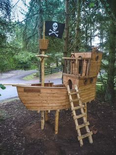 Pirate Ship Treehouse - you never know, he might let me have one ...