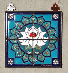 """12""""x12"""" Hand Glazed Tile Lotus Mandala Mural"""