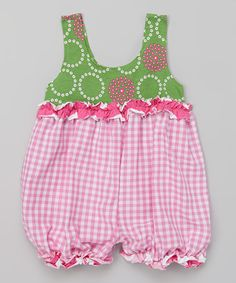 Another great find on #zulily! Pink Gingham Baby Bubble Bodysuit - Infant #zulilyfinds