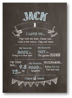 Chalkboard Design First Birthday Milestone by ChalkboardsByDesign, $25.00