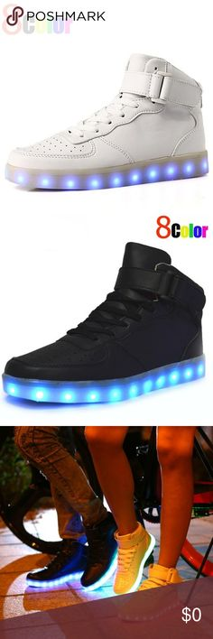 Retro 8Color Changeable LED Glow In The Dark Kicks Now on sale at LiveYoungStore!! Go to site for purchase!! On our poshmark profile. Click ABOUT for website link!!  Details:  -Durable -Waterproof -8 Changeable LED Colors -Chargeable -Breathable -Stylish -Comfort Shoes