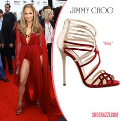 Jennifer Lopez in Jimmy Choo Maury Red Velvet & Metallic Leather Strappy Sandals