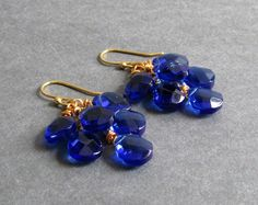 Droplet Earrings (Cobalt) - Dark blue crystal briolette and 14k yellow gold plated cluster earrings; wonderful bridal or bridesmaid earrings, custom colors available.
