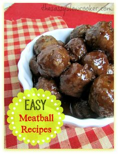 EASY Meatball Recipes in the Slow Cooker for Super Bowl Sunday! Crock Pot Food, Crock Pot Slow Cooker, Slow Cooker Recipes, Crockpot Recipes, Cooking Recipes, Venison Recipes, My Recipes, Favorite Recipes, Healthy Recipes